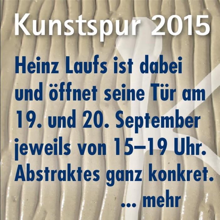 Einladung zur Kunstspur 2015, Offenes Atelier von Heinz Laufs