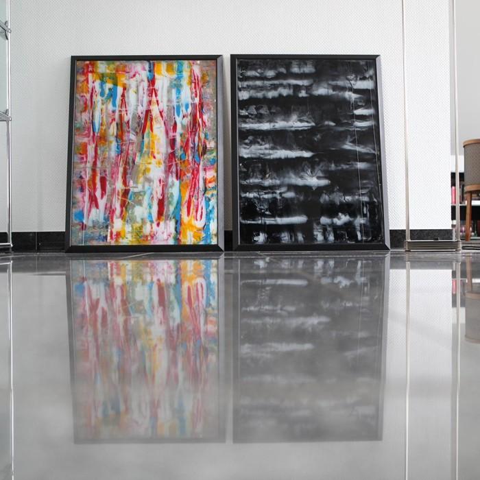 """Glas Color Event"" und ""Glas Black & White"", 2014, 60 x 80 cm mit Rahmen, Acryl, hinter Glas (30+31)"