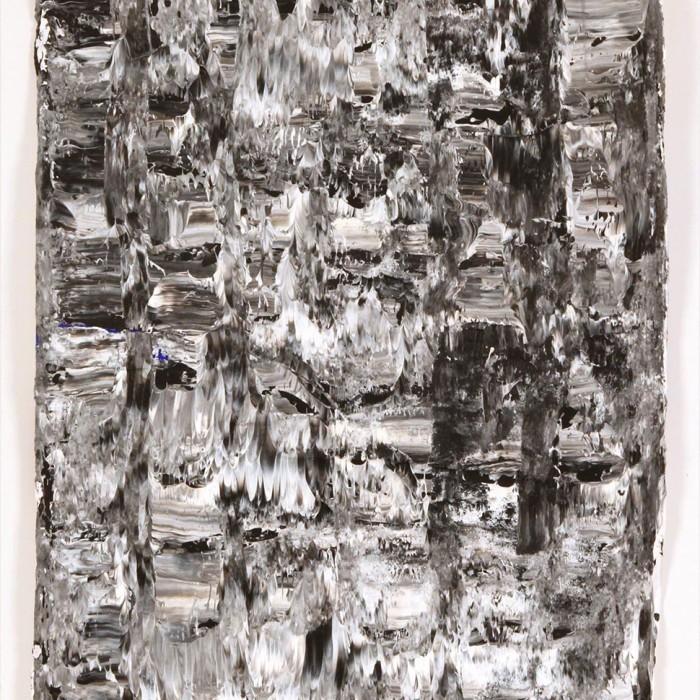 """""""Crazy Grey"""", 2014, 64 x 85 cm (Platte), Acryl, übermaltes handgeschöpftes Papier auf weiß laminierter Spanplatte (42)"""